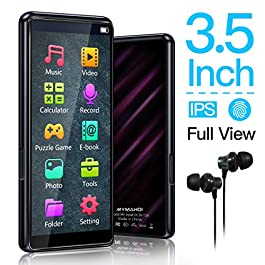 MYMAHDI MP3 Player, High Resolution and Full Touch Screen, 8GB HiFi Lossless Sound Player with FM Radio, Voice Recorder, Supports up to 128GB,Black