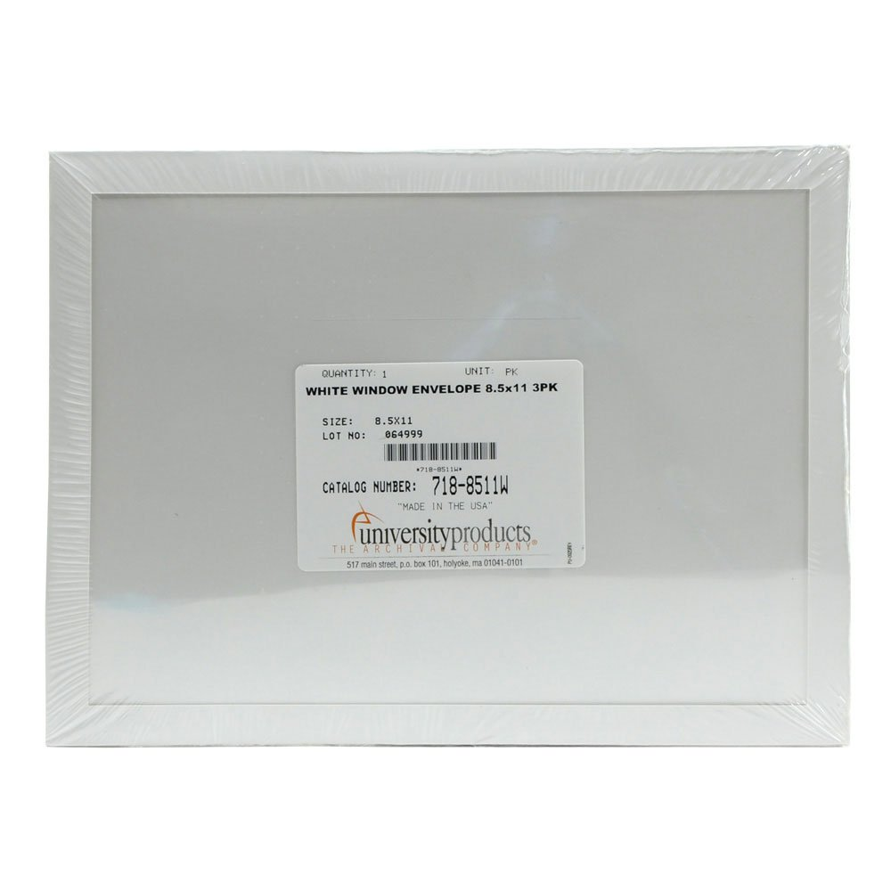 Lineco Window Envelope, Archival Polyester, 8.5 X 11 inches, White, Pack of 3 (718-8511W)