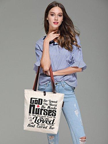 Canvas Bag Letters God Women's Shoulder Tote Top Nurse So'each Graphic Handle a4Svw
