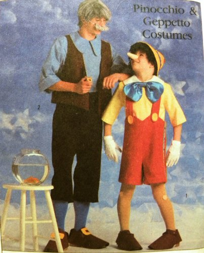 [Simplicity 8334 Walt Disney Pinocchio & Geppetto Costumes Sewing Pattern] (1987 Halloween Costumes)