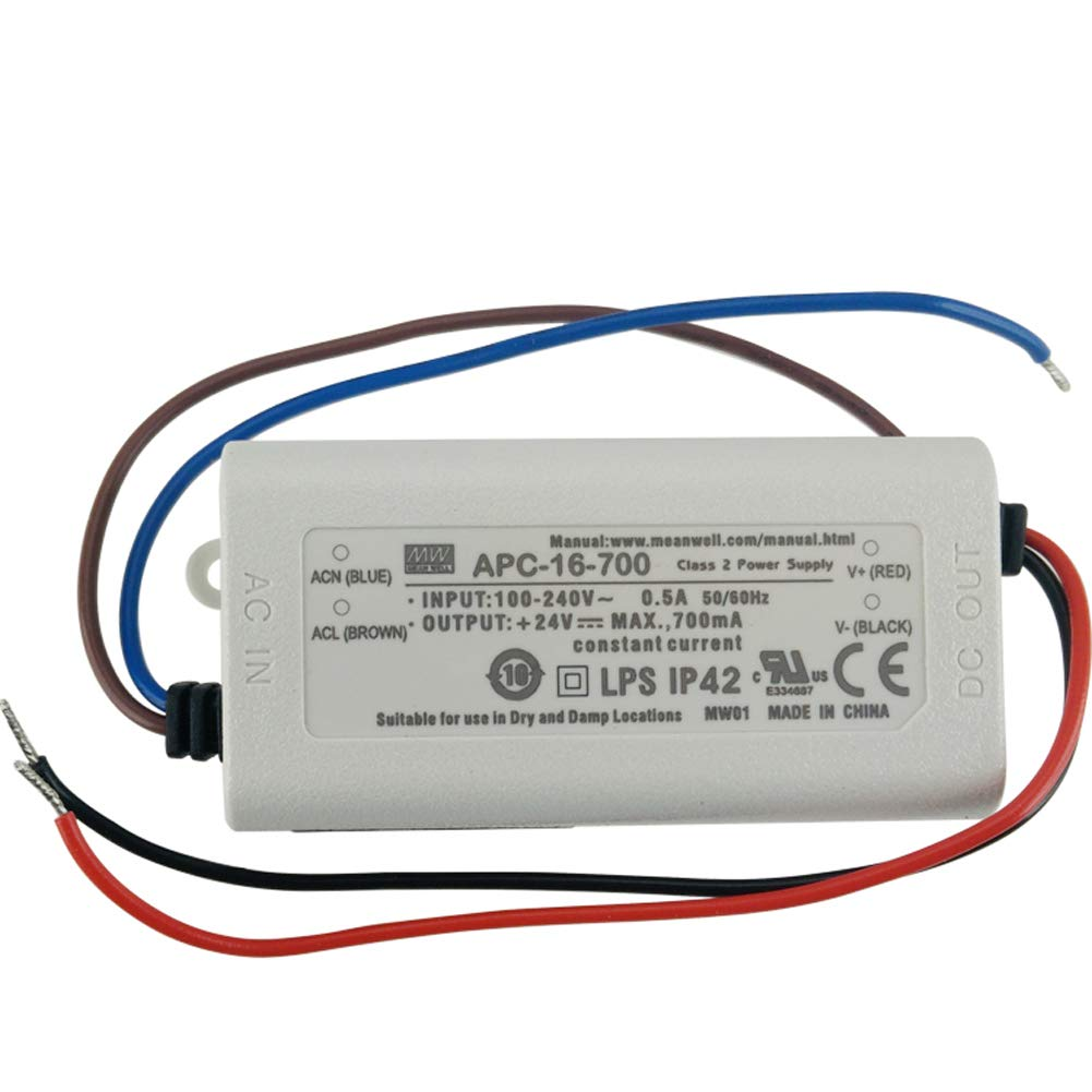 Amazon.com: Original Meanwell LED Driver APC-16-700 16.8W 9~24V 700mA LED  Power Supply Constant Current Mean Well APC-16 IP42: Computers & Accessories
