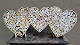 Triple Heart Drop Alternative Wedding Guest Book Shadow Box with 1.5'' Heart Charms