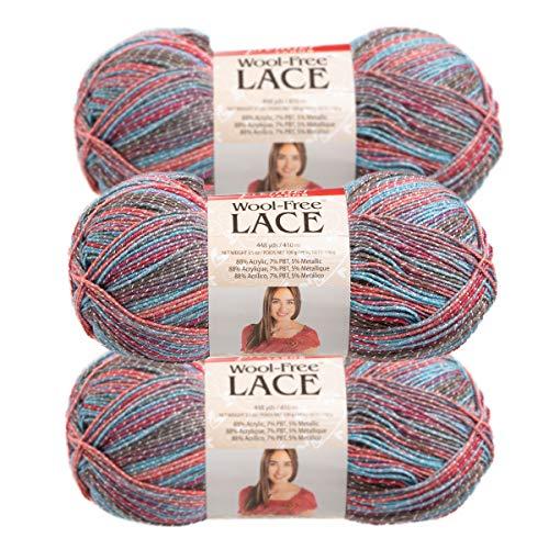 Premier Yarns (3 Pack Wool-Free Lace Acrylic Blend Soft Sea Sunset Blue Pink Gray Yarn for Knitting Crocheting 1 ()