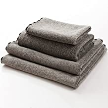 ANswet Super Soft Bamboo Fiber Towel Sets Sport Towels 4-Pieces Premium Bamboo Cotton Bath Towels - Natural Ultra Absorbent and Eco-Friendly (Gray)