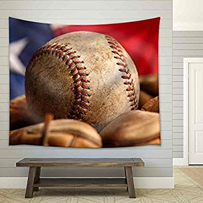 Classic Artwork, Stunning Expertise, Vintage Baseball Glove with American Flag Fabric Wall