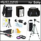Must Have Accessory Kit For Sony HDR-CX430V, HDR-PJ430V HD Camcorder Includes Replacement (2300Mah) NP-FV70 Battery + Ac / DC Charger + Deluxe Case + Tripod + 3PC Filter Kit (UV-CPL-FLD) + Micro HDMI Cable + USB 2.0 SD Reader + Much More