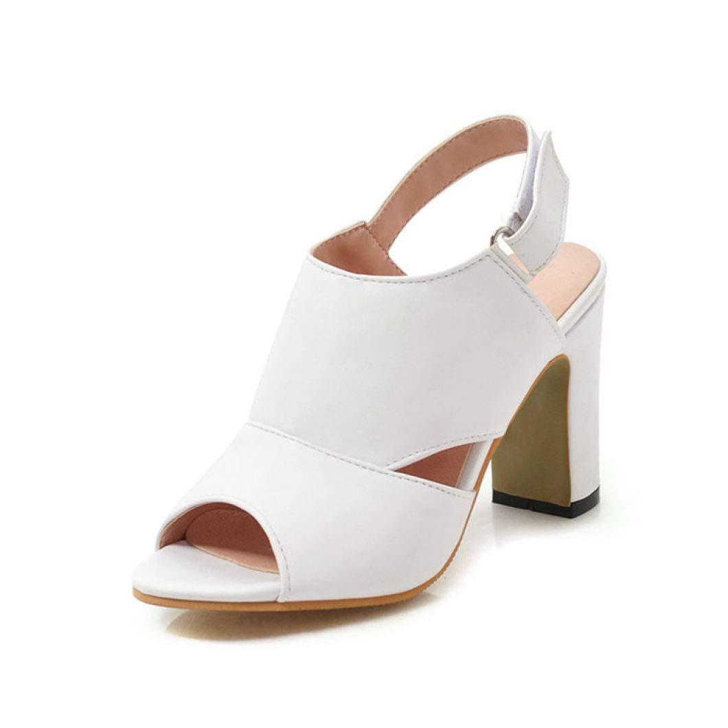 White MEIZOKEN Womens Ankle Strap Chunky Heel Sandals Comfy Peep Toe Cutout Slingback Pump Dress Sandal
