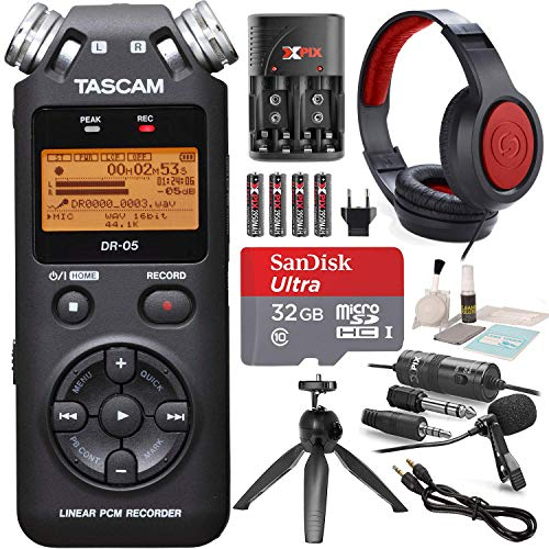 - Tascam DR-05 (Version 2) Portable Handheld Digital Audio Recorder (Black) with Platnium accessory bundle