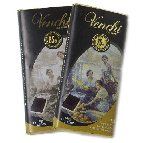 Venchi Italian Chocolate - Venchi Cuor di Cacao Chocolate Bar - 45gr. - 75% Bittersweet Dark (1.6 ounce)