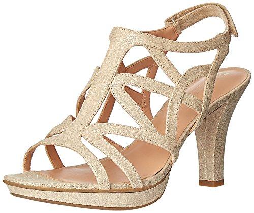 Naturalizer Women's Danya Platform Dress Sandal, Taupe/Gold, 7.5 M US