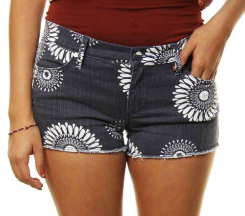 """Roxy Women's """"Sun Skippers Print"""" Denim High Waisted Daisy Shorts-11"""