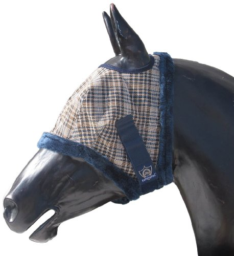 Kensington KPP Fly Mask with Fleece Trim, English Navy Plaid, Large