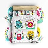4 Pieces Duvet Cover Sets 100% Cotton Creative Illustrations Duvet Cover Boys Girls Bedding Flower Skull GuitarTwin Size