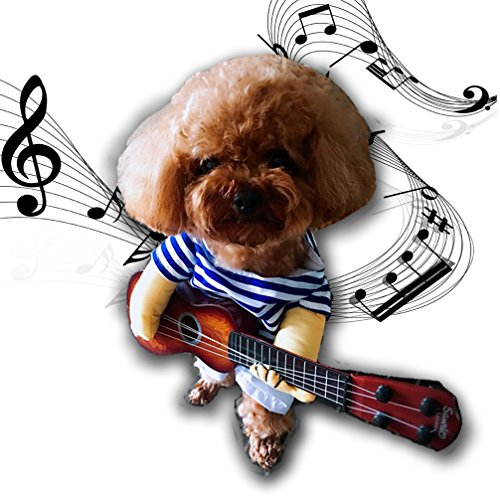 Dog Costume Pet Costumes with Toy Ukulele Costume Dog Car...