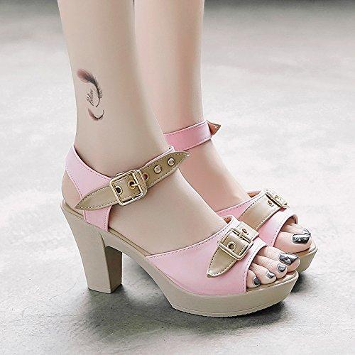 RUGAI-UE Boca de Pescado sandalias de tacón Hebilla Waterprotable Verano zapatos de mujer moda zapatos High-Heeled Pink
