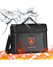Fireproof Document Bag with Shoulder Strap, Fire and Water Resistant Pouch Money and Document Safe Bag with Handle, Portable Security Closure Fire Zipper Bag for Money, Photos, Jewelry, Passport