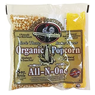 4147 Certified Organic 8 Oz Movie Theater Great Northern Popcorn Portion Packs 18ct