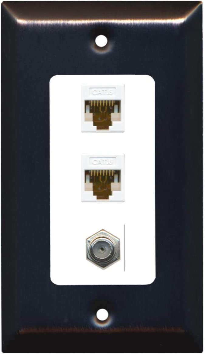 3 Port White//White RiteAV Decorative 1 Gang Wall Plate 1 x Coax 2 x Cat6
