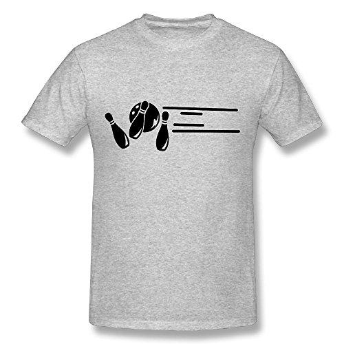 Kathleng Bowling Wurf 2 F1 Organic Bamboo For Mens Short Sleeve T-shirt Gray (Organic Bowling T-shirt Mens)