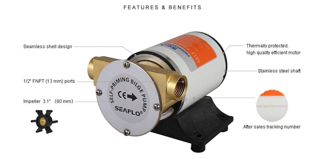 Seaflo Self-Priming Impeller Bilge Pump - 12V, 8GPM
