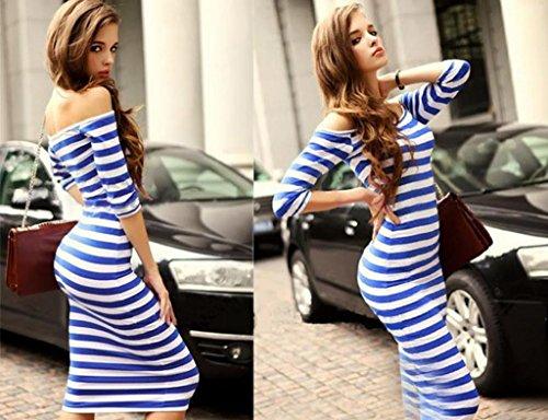 Lovaru Women's Off The Shoulder Knee Length Strapless Stripe Dresses