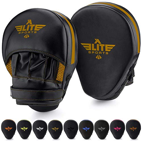 Elite Sports Boxing Mitts for Muay Thai MMA Sparring Training Punching Focus Punch Target Mitts and Pads (Gold)