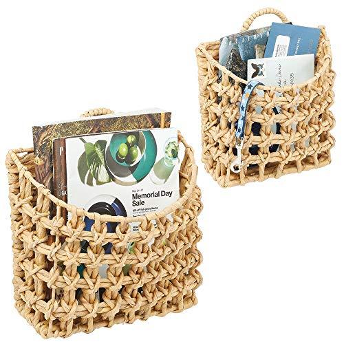 mDesign Natural Woven Hyacinth Closet Storage Wall Mount Organizer Basket Bin – for Storage in Closet, Bedroom, Bathroom…