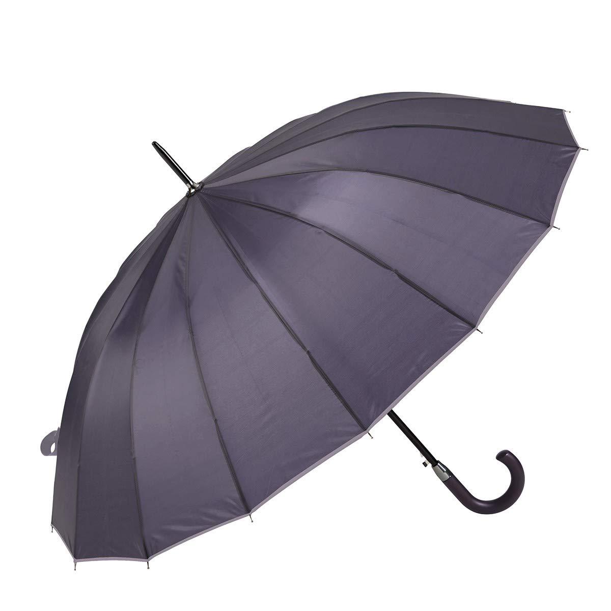 GOTTA Parapluie Long et Grand Coupe-Vent pour Homme Aubergine Ouverture et Fermeture Automatique avec Poign/ée Courb/ée et Tissu Uni
