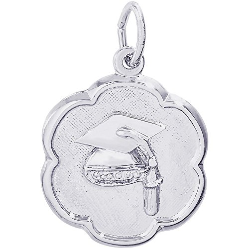 Scalloped Disc Charm - Rembrandt Charms Sterling Silver Graduation Cap Scalloped Disc Charm (18 x 18 mm)