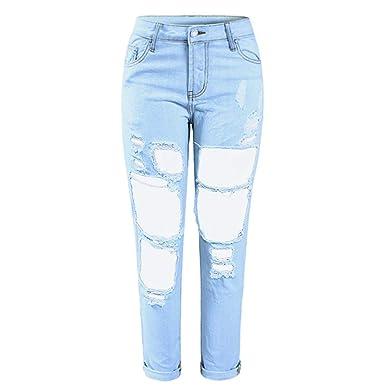 d49a2af5916 Boyfriend Torn Holes Mid Waist Light Blue True Denim Capris for Women Ripped  Jeans at Amazon Women's Jeans store