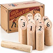 Ultimate Lawn Game for Family Outdoor Wooden Timber Toss – Viking Bowling Yard Number Games – Best Interactive