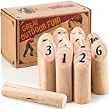 Ultimate Lawn Game for Family Outdoor Wooden Timber Toss – Viking Bowling Yard Number Games – Best Interactive Way to Develop Math Skills - Enjoy and Play Wooden Throwing Game - Includes Carry Bag