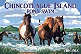 Chincoteague Island, Virginia - Pony Swim (Horizontal) (12x18 Art Print, Wall Decor Travel Poster)