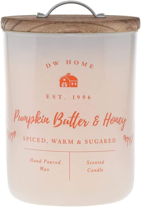 DW Home Charming Farmhouse Collection Pumpkin Butter & Honey Scented Large 2 Wick Candle Topped with Rustic Wooden Lid