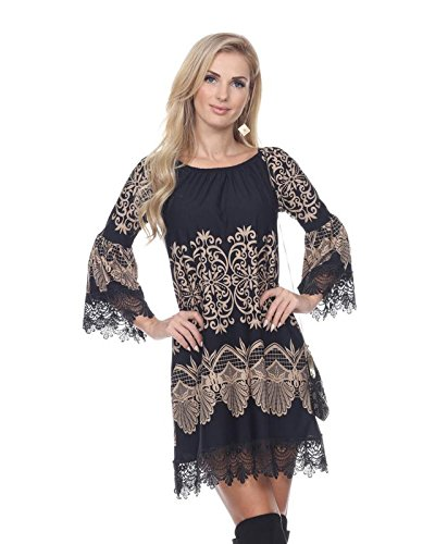 White Mark Alta French Lace Hem Dasmask Dress in Brown & Black - 2X