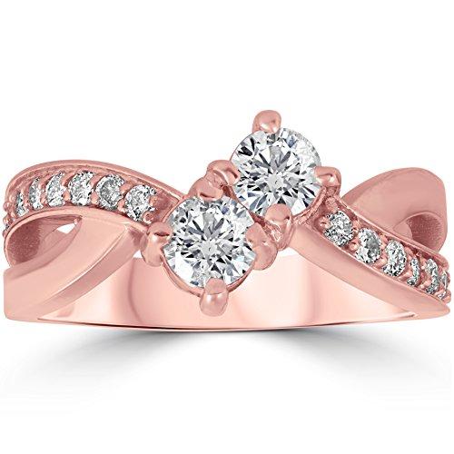 Gold Diamond Crossover - 1 cttw Forever Us 2-Stone Diamond Engagement Cross Over Ring 10k Rose Gold - Size 5.5