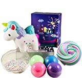 HMC PRODUCTS Slime Kit, Squishies Unicorn Poop - Diy Fluffy Slime Set. Squishie & Slime for Kids, Stress Relief Toys. 4 Colors Slime, Beads & a Unicorn. Pooping Unicorn, Unicorn Toys for Girls & Boys.