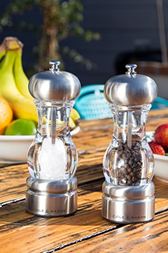 cole mason saturn salt and pepper grinder set stainless import it all. Black Bedroom Furniture Sets. Home Design Ideas
