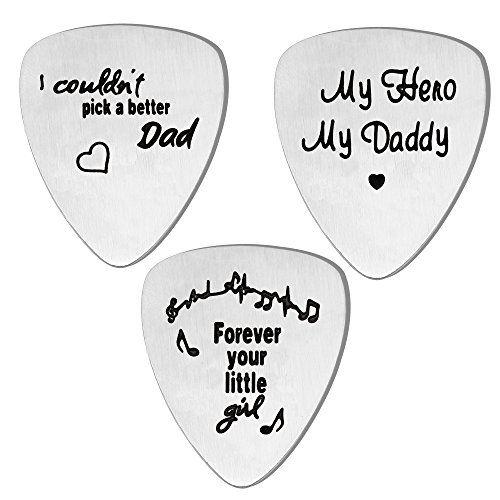 (lauhonmin 3PCS Guitar Picks Set for Dad for Papa from Daughter Son Stainless Steel)