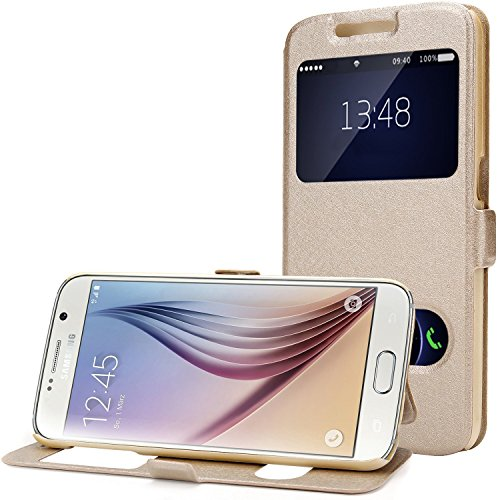 Galaxy S6 Case, EnGive Premium Slim Flip Imitation Leather Cover for Samsung Galaxy S6 G920 (Gold) by ENGIVE