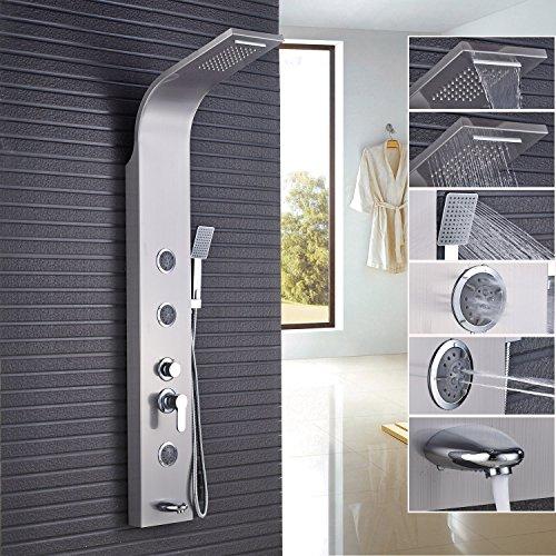 Rozin Bathroom 5 Functions Shower Panel Set Rain Waterfall Showerhead + Tub Faucet + Hand Spray + Body Jets Brushed Nickel Finish