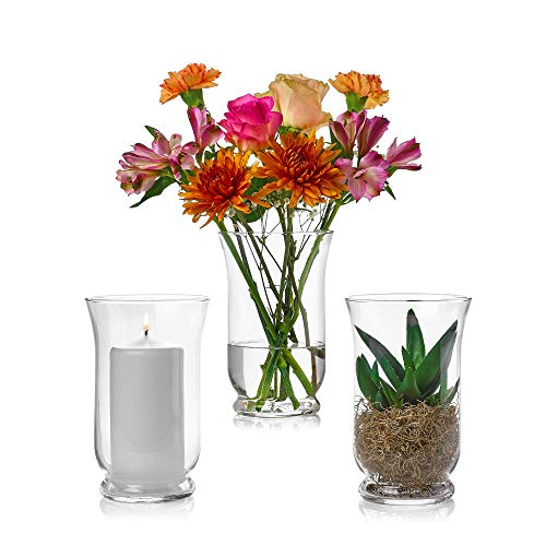 Set of 3 Glass Hurricane Vases 8 Inch Tall x 5 Inch Opening - Multi-use: Pillar Candle Holder, Flower Vase - Perfect as a Wedding Centerpieces, Home Decoration (Extra Large Hurricane Vase)