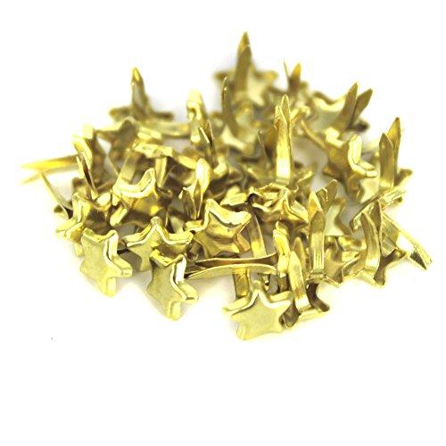 Bestartstore 6x10mm 200Pcs Gold Tone Metal Stars Shape Brad Paper Fastener Scrapbooking Card Making Art Craft Brads Gold Scrapbooking Brads