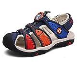 DADAWEN Boy's Girl's Summer Outdoor Breathable Athletic Bump Toe Strap Sport Sandals (Toddler/Little Kid/Big Kid) Blue US Size 8.5 M Toddler