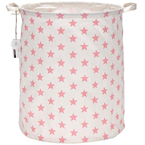Sea Team 19.7 Large Sized Waterproof Coating Ramie Cotton Fabric Folding Laundry Hamper Bucket Cylindric Burlap Canvas Storage Basket with Stylish Pink & White Star Design