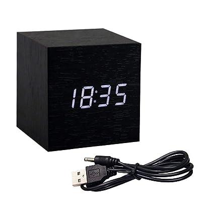 Gerhannery Despertadores Electrónicos con Reloj de Alarma Recargable de Led Incorporado con InformacióN de Fecha, FuncióN Snooze, Sensor de Luz y Luz ...