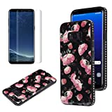 Flower Design Case for Samsung Galaxy S8 Plus with Screen Protector, OYIME Vintage Floral Pattern Hard Plastic Back + Soft Silicone Glitter Rhinestones Frame 2 in 1 New Hybrid Black Cover Thin Slim Fit Protection Shockproof Scratch Resistant Shiny Bling Bumper - Wild Rose