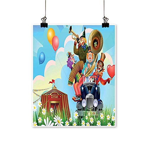 - Panels Painting on Canvas Clowns Vintage Car and Circus Big Top Daisies Flowers Heart in Meadow Artwork for Kitchen Room,20