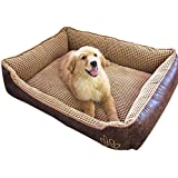 AcornPets B-601 Deluxe Coffee Color Dog Bed Cat Pet Pillow Fleece 70 x 55 CM For Small or Medium Dogs, Using Fur Velvet, Oxford Frabric, Detachable and Washable