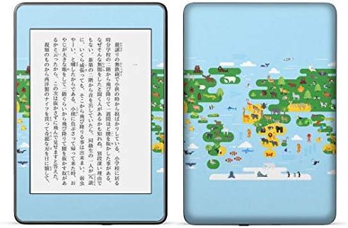 igsticker kindle paperwhite 第4世代 専用スキンシール キンドル ペーパーホワイト タブレット 電子書籍 裏表2枚セット カバー 保護 フィルム ステッカー 015997 世界地図 wordmap カラフル